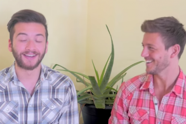 Laughing away in one of our videos!